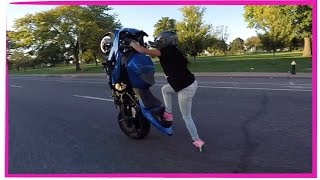 GIRL rides crazy WHEELIE in traffic 2016 INSANE extreme motorcycle stunts