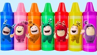 Learn Colors for Kids Oddbods Body Paint Finger Family Nursery Rhymes PEZ Mickey Mouse Microwave