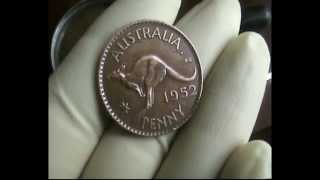 1952 ONE PENNY Aust-(King George VI-Kangaroo)Mint-GEM-BU-Coin FOR SALE