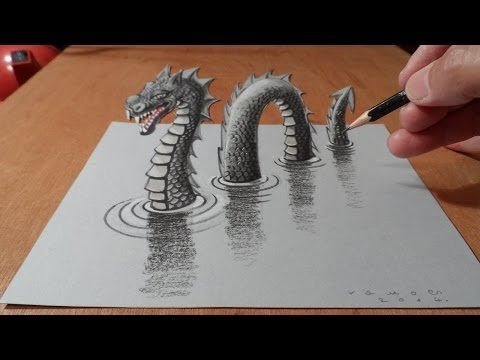 3D Drawing Loch Ness Monster Trick Art Dragon on Paper