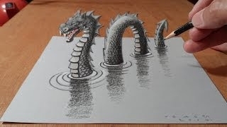 Drawing 3D Loch Ness Monster, Trick Art on Paper