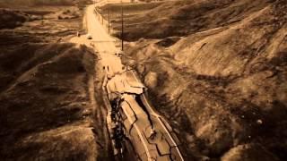 Landslide Buckles Road, aerial video from Vasquez Canyon Rd, Santa Clarita, Massive Road Deformation