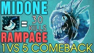 MidOne Slark - 30 KILLS with Rampage - 1vs5 Comeback