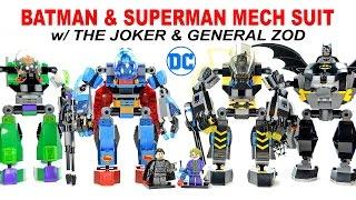 Batman & Superman Mech Suit w/ The Joker & General Zod Unofficial LEGO Knockoff Set