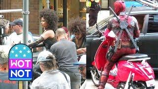 Deadpool on a Red Vespa Filming Stunt Scenes with Zazie Beetz