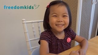 Freedom Kids - Melody 3 Years Old! recites Bible memory verses (Scripture)