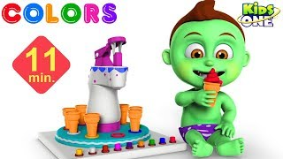 Greeny Kiddo Eating ICE CREAM and Learn COLORS for Kids, Children - KidsOne