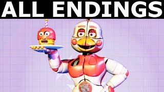 FNAF 6 - ALL ENDINGS - Freddy Fazbear's Pizzeria Simulator All Possible Ending Outcomes