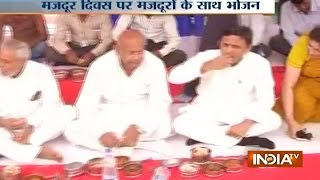 International Labours Day: CM Akhilesh Has a Lunch with Workers in UP