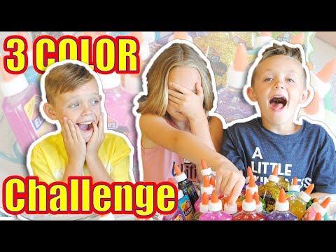 3 COLORS OF GLUE SLIME CHALLENGE Kids Fun TV