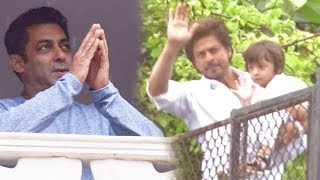 Salman Khan, Shah Rukh Khan With Son AbRam Celebrate Eid 2017 With Fans