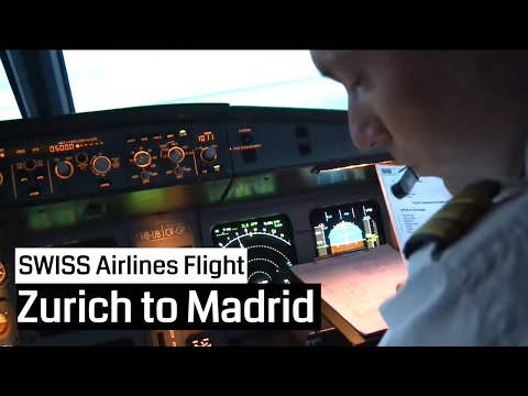 SWISS Airbus A320 Zurich Madrid and back Cockpit Jumpseat