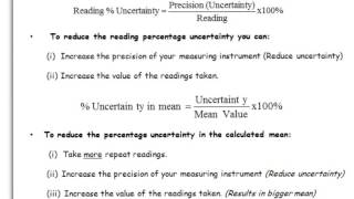 A Level Physics: AQA: Practical Skills: Calculating Uncertainty.
