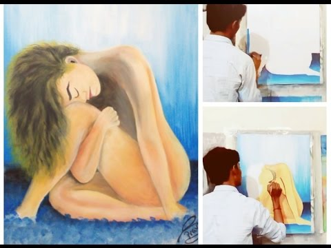 Valentine's Day special.. A full nude beautiful girl painting by.. artist.. (pravish rahi)