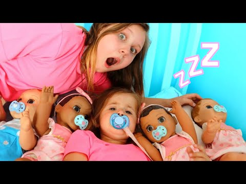 Ruby helps Babies Kids Pretend Play with Baby Dolls feeding and morning routine video