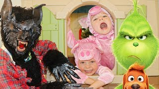 GRINCH Santa STEALS The 3 Little Pigs for the BIG BAD WOLF & PJ Masks Story for Kids