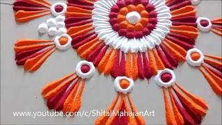Small Innovative New  Rangoli Design by Shital Mahajan   Beautiful Kolam