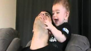 Baby plays with dad, so cute!!!