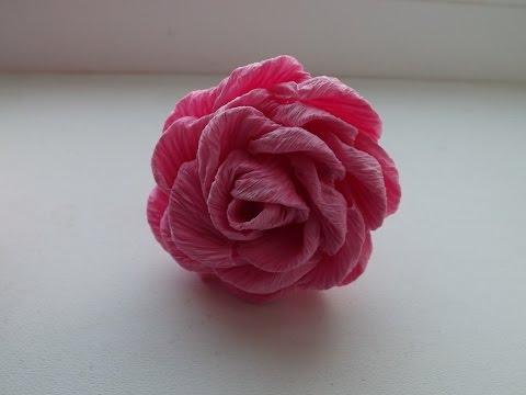 173Из крепированной бумаги  цветы розы