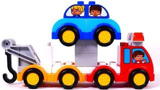 Fire Truck Tow Truck Dump Truck Learn Colors with Building Blocks Playset for Children