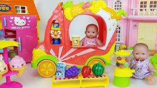 Baby doll fruit juice mixer car and pororo toys play 아기인형 과일 주스 믹서 자동차 뽀로로 장난감 놀이 - 토이몽