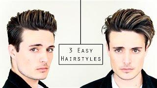 3 Easy Mens Hairstyles | No Heat Hair Tutorial - Healthy Hair 2016