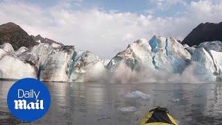 Kayaker witness glacier collapse in Alaska