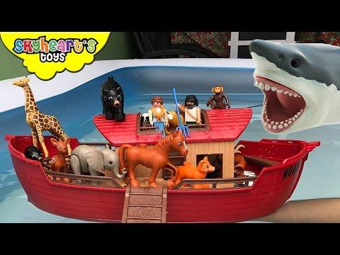 NOAH S ARK vs. Giant Shark Animal toys kids Safari Zoo Collection Farm Children Boat animals