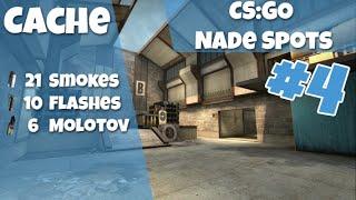 CS:GO Nade Spots Ep #4 - Cache, 21 Smokes, 10 Flashes and 6 Molotovs - Quick Version