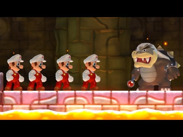 New Super Mario Bros Wii - All Bosses with Multiple Marios