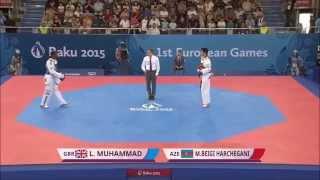Taekwondo WTF. Baku 2015 European Games. Quarterfinal. M-68. Muhammad-Beigi Harchegani.