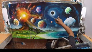Volcano and planets second version spray paint art