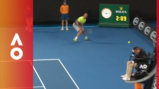 Umpire takes one in the head from Troicki   Australian Open 2018