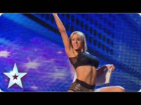 Keri Graham s chair exercises wow Judges Week 1 Auditions Britain s Got Talent 2013