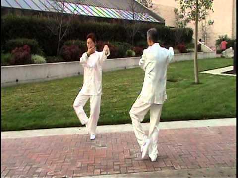 Two people mirror Tai Chi form 24