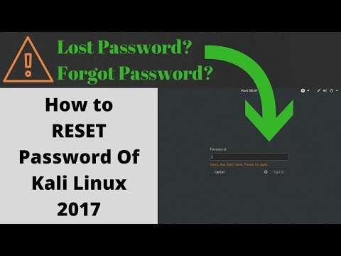 How to Reset Lost Password of Kali Linux?