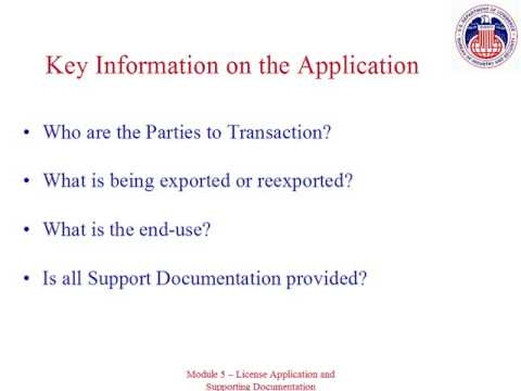 BIS License Application and Supporting Documentation: Module 5