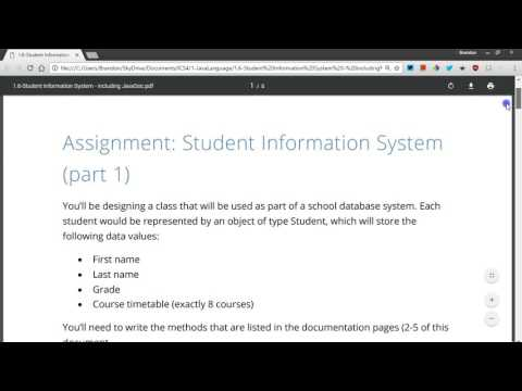 Example Java class Student Information System