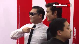 PSY and Byung hun Lee do it 'Gangnam Style' arriving at Red 2 LA Film premiere
