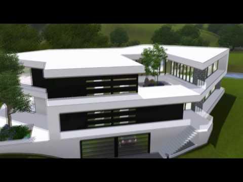 The Sims 3 House : Ultra Modern B&W Mansion [HD]