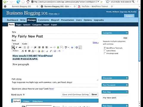 WordPress Tutorial - How to Add Bold, Italic, Color to Text 000WebHost FREE web hosting