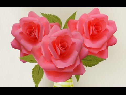 Home Decoration Idea : Wedding Paper Roses Craft | Valentine Crafts | Flowers Making