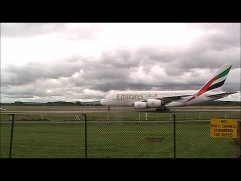 Emirates A380 taxi past at Manchester Airport