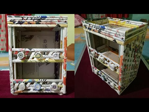 How to make a stationary / Desk Organizer using cardboard and news paper ( Magazine )