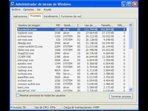 Mozilla Thunderbird Memory usage: start, check-mail with 800+ mails, minimize
