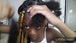 Jumbo box braids- rubber band method by 12yr old