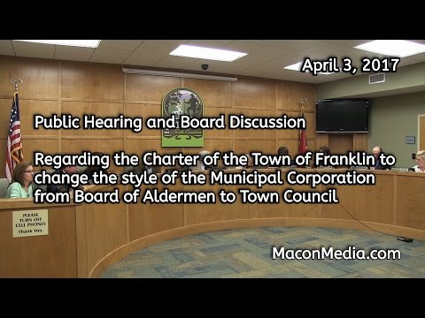 Public Hearing on Name Change from Board of Aldermen to Town Council
