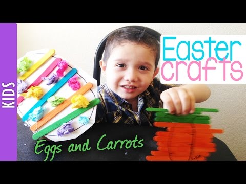 Easter Crafts with Kids: Popsicle sticks eggs and carrots -The290ss