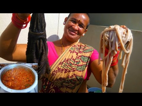 How To Clean And Cook Goat Intestine Village Style | Lamb Gizzard Curry cooking Village Recipe  2017
