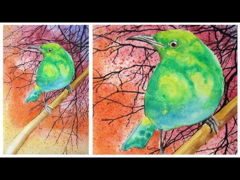 Art Lesson:  How to paint a Simple Bird with watercolour